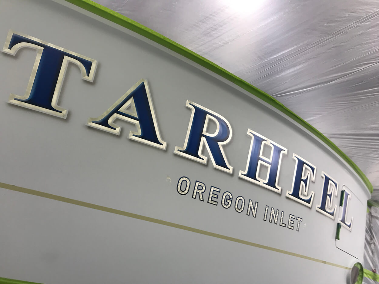 Tarheel Oregon Inlet NC Boat Transom airbrushed highlight shadow name