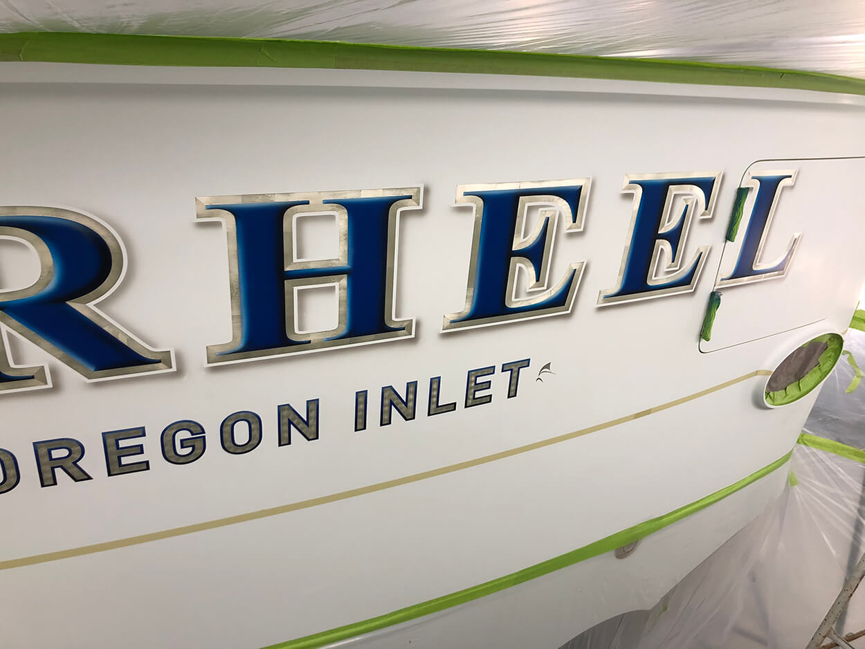 Tarheel Oregon Inlet NC Boat Transom charter boat style letter fill