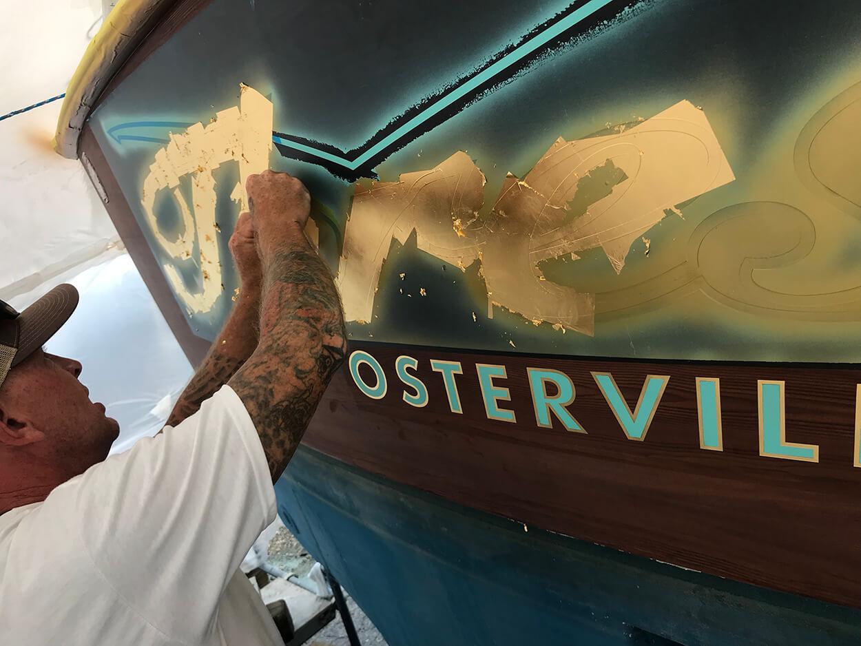 Thresher Osterville Massachusetts Boat Transom josh everett gold leaf