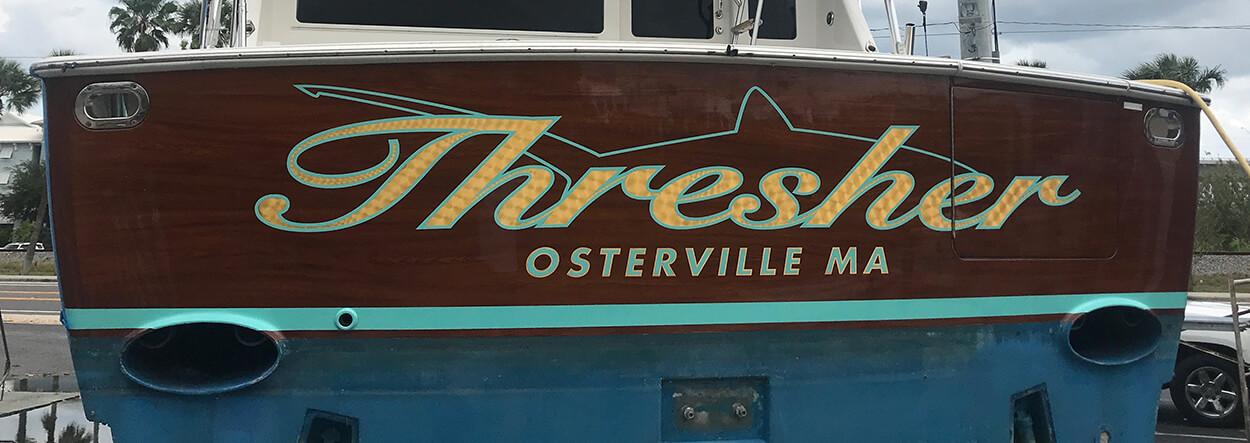Thresher Osterville Massachusetts Boat Transom script lettering font