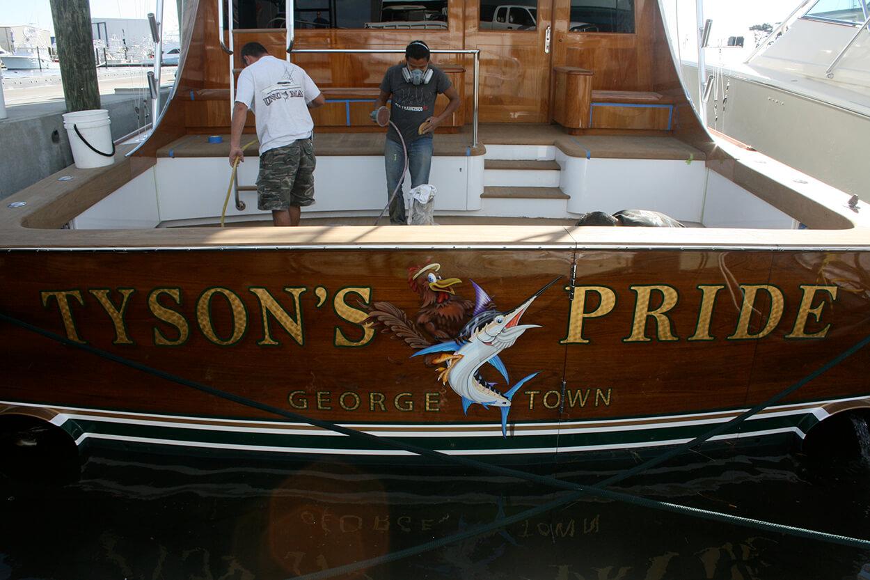 Tyson's Pride Georgetown South Carolina Boat Transom don tyson yacht sportfishing vessel goldleaf gold leaf