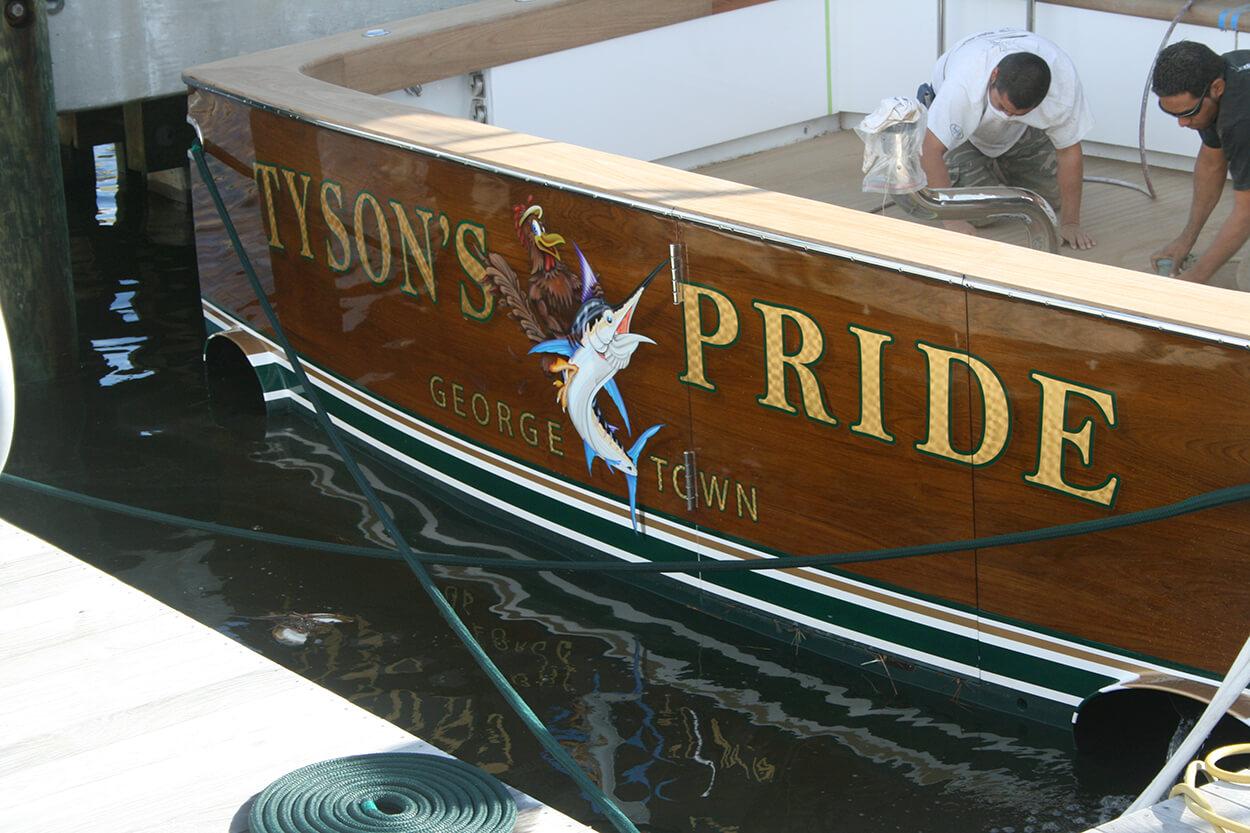 Tyson's Pride Georgetown South Carolina Boat Transom vessel in water name design