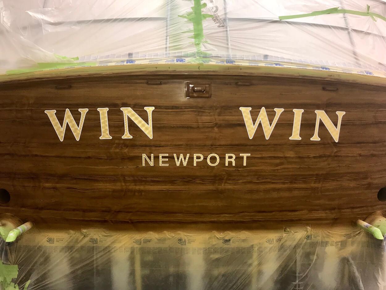 Win Win Newport Rhode Island Boat Transom 24k yellow goldleaf lettering