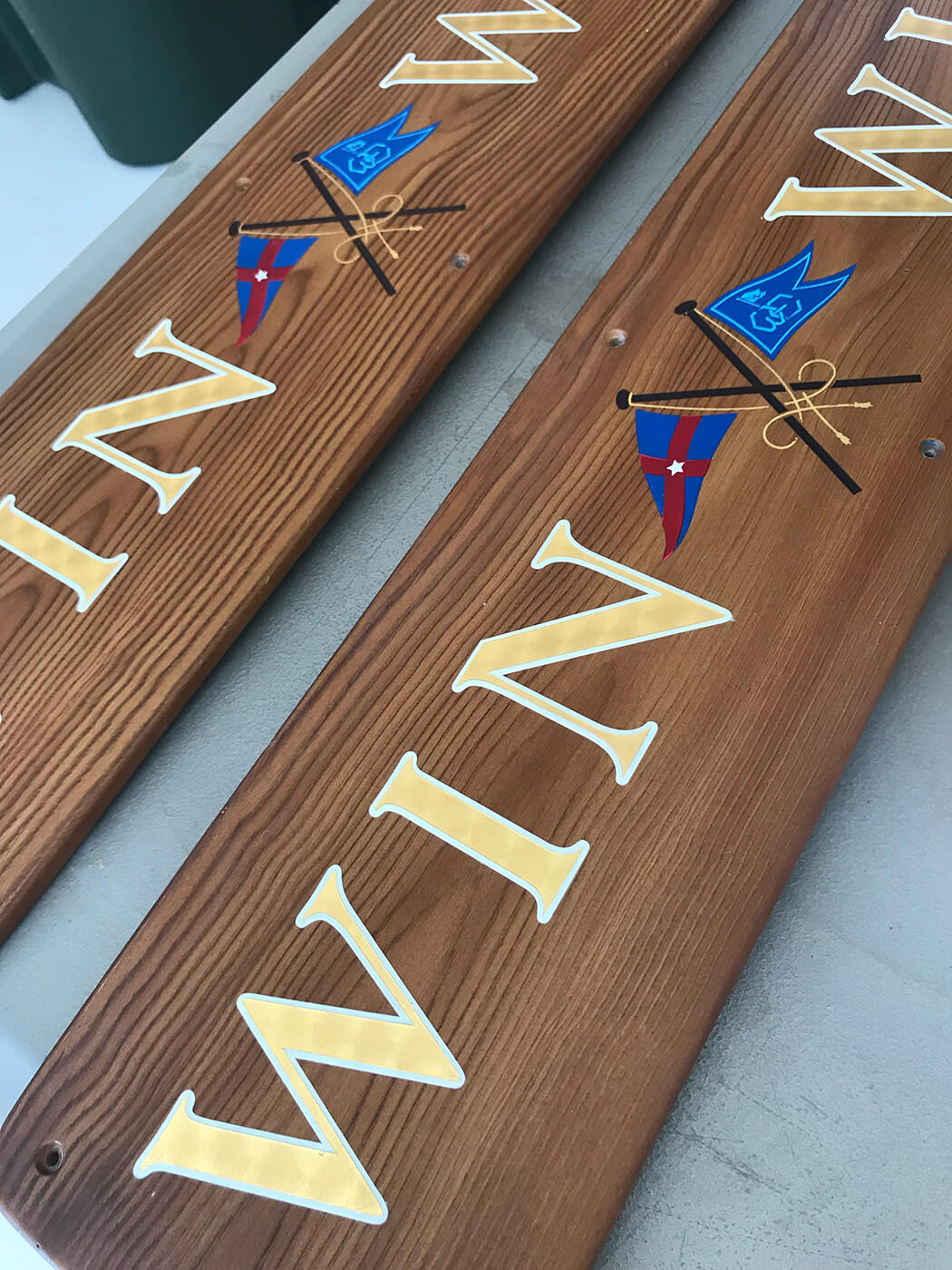 Win Win Newport Rhode Island Boat Transom nameplates sideboards marine name letters graphics flags