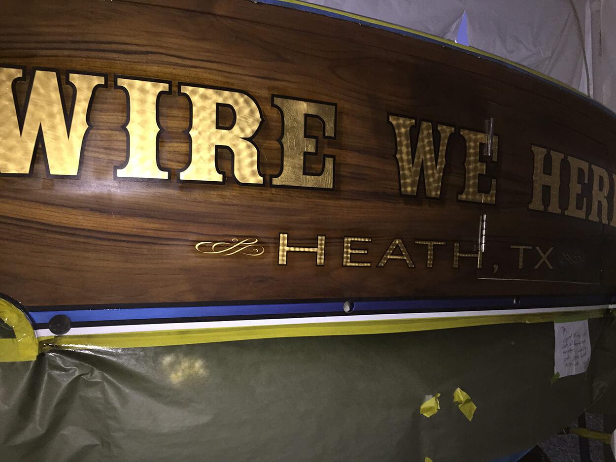 Wire We Here Heath Texas Boat Transom hard drop shadow marine lettering yachts