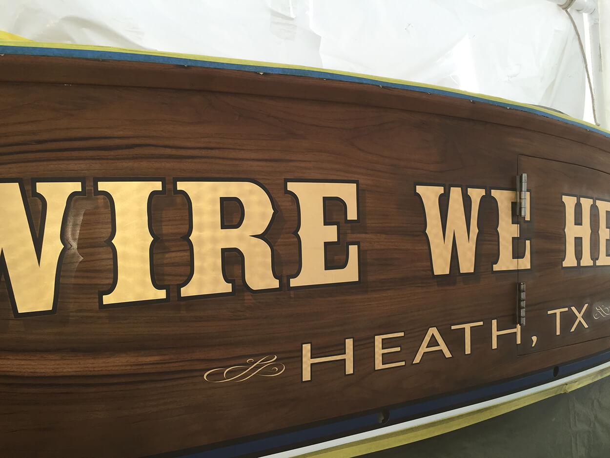 Wire We Here Heath Texas Boat Transom lettering sportfishing yachts
