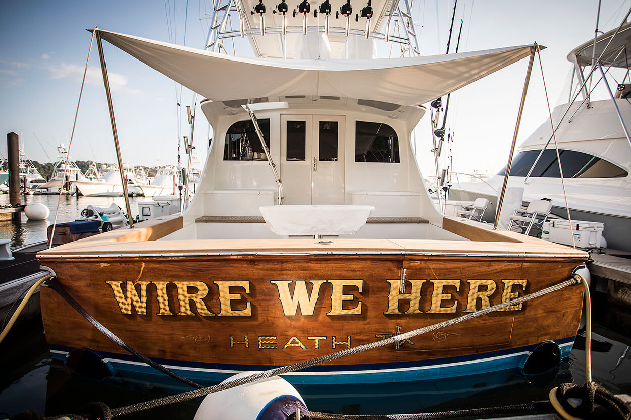 Wire We Here Heath Texas Boat Transom vessel name lettering engine turned 24k gold leaf