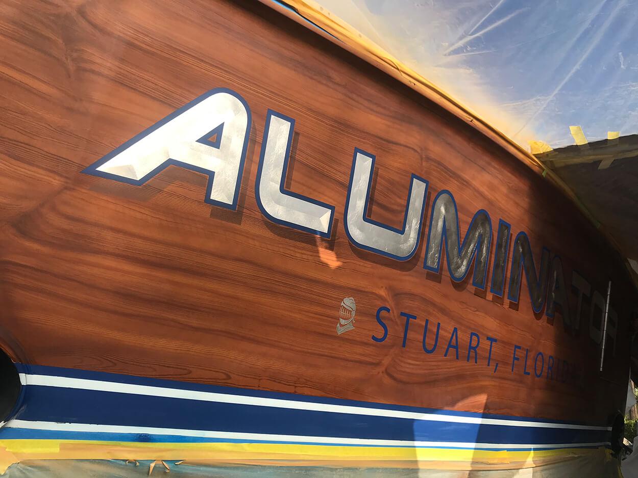 aluminator, stuart florida, boat transom, faux teak, name design