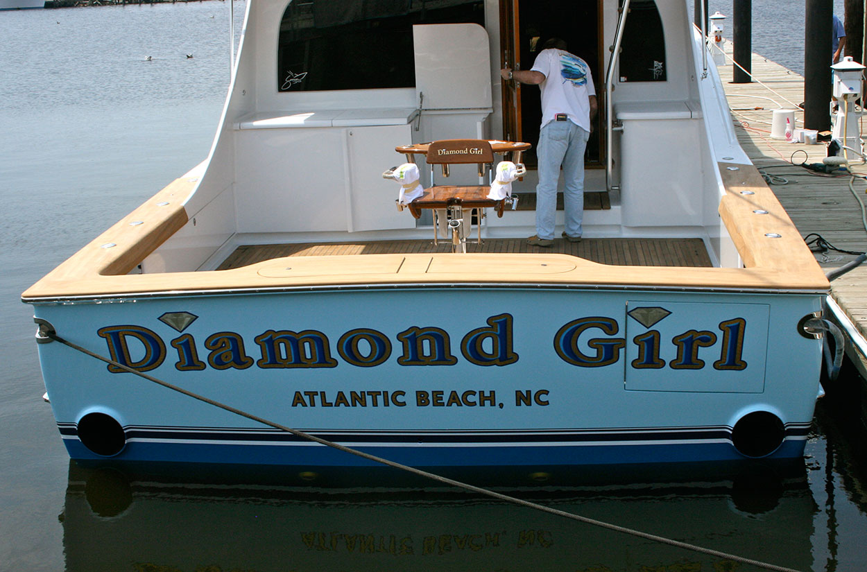 Diamond Girl, Atlantic Beach Boat Transom