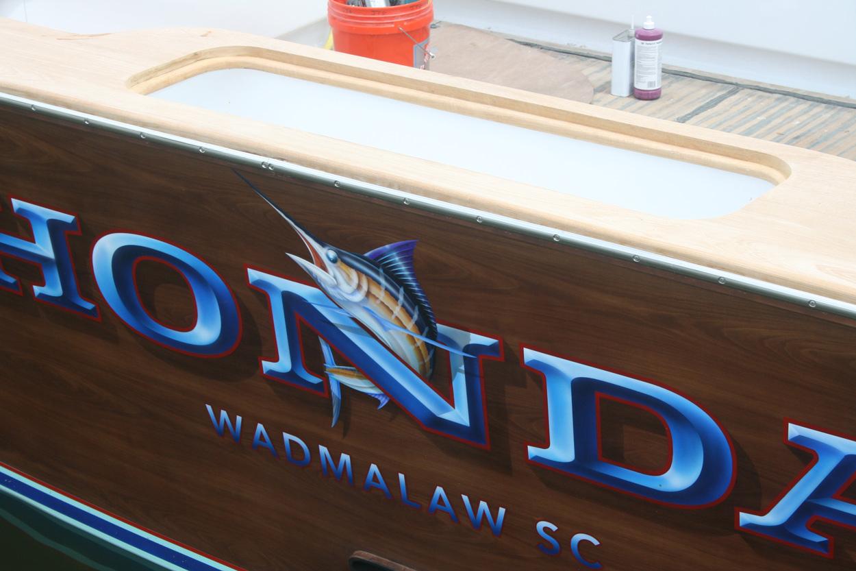 Honda, Wadmalaw South Carolina Boat Transom sign painter