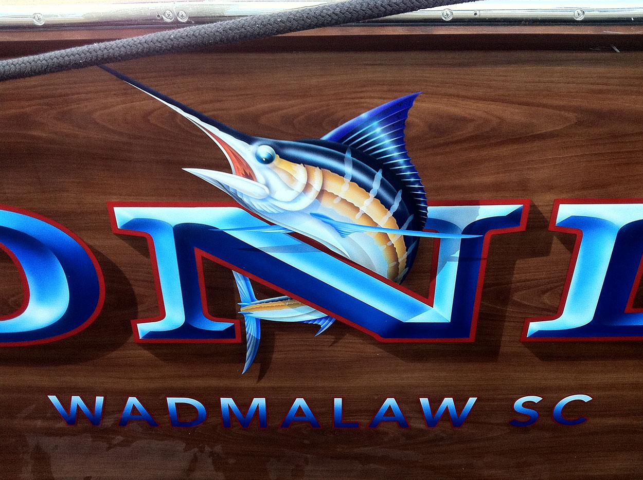 Honda, Wadmalaw South Carolina Boat Transom lettering gold leaf