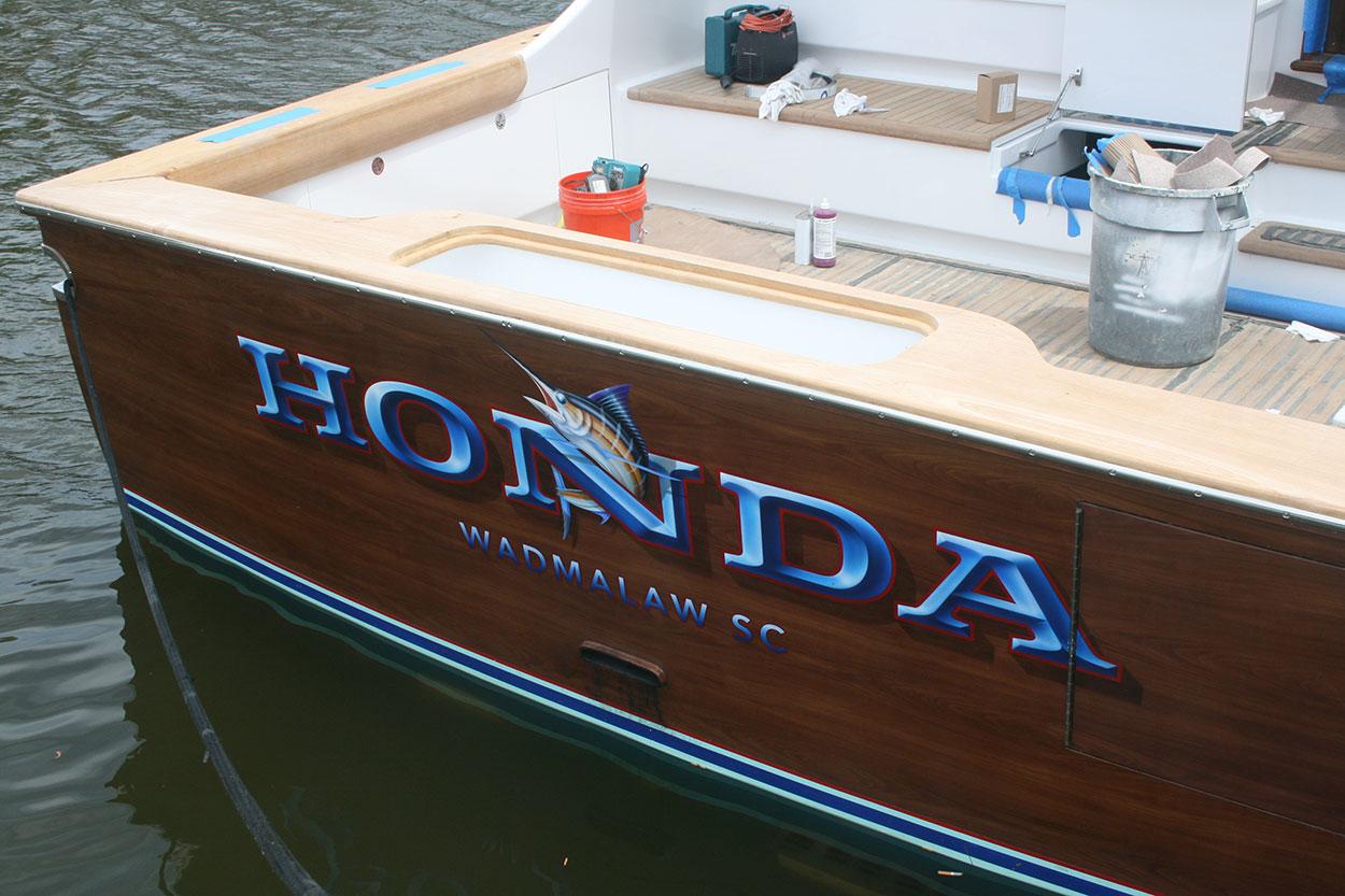 Honda, Wadmalaw South Carolina Boat Transom, name design, art, typography, yachts, marlin, airbrush