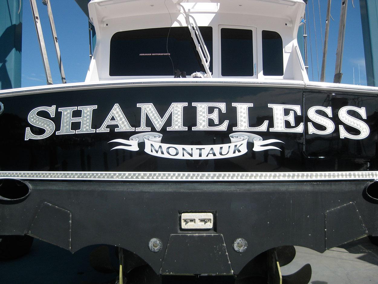 Shameless, Montauk Boat Transom name design