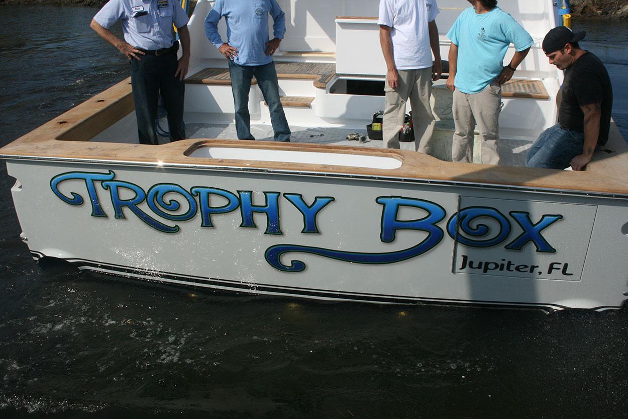transom vessel name design Trophy Box