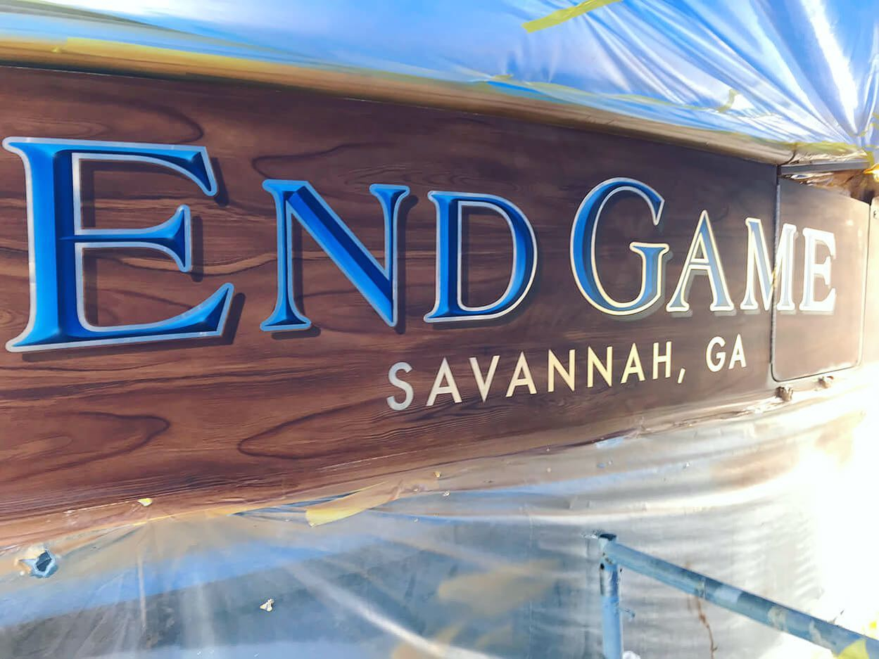 """End Game"" features our painted bevel style lettering, white gold l outlines, and a hard drop shadow. @vikingyachtcompany"