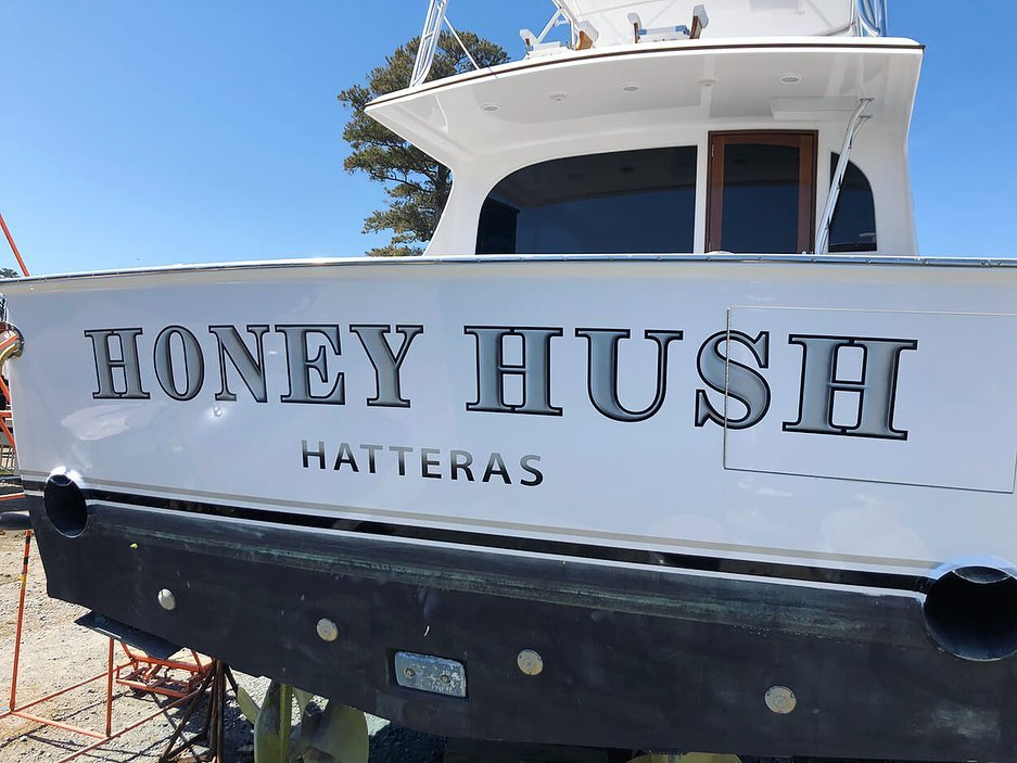 """Honey Hush"" features our custom lettering style, 3D highlight shadow fill, and painted outlines. @spenceryachts"