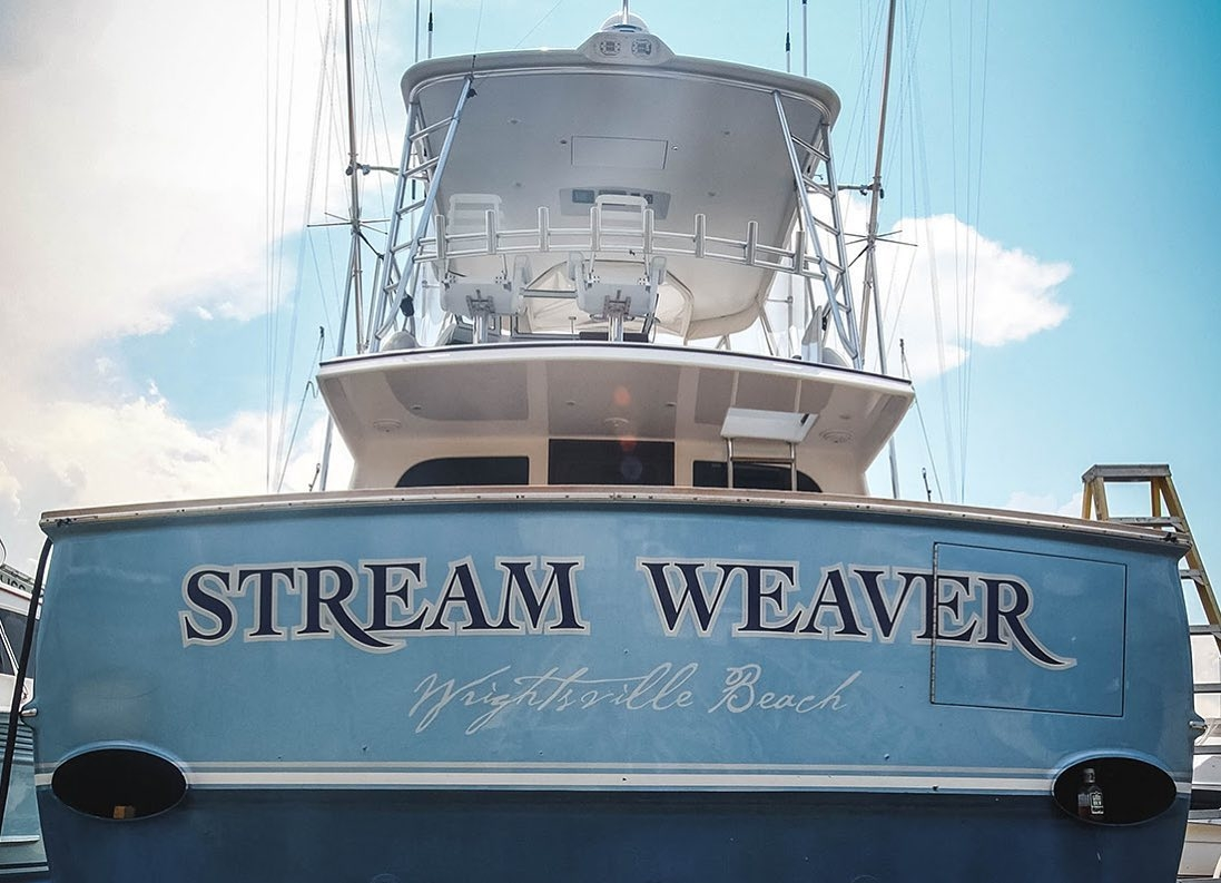 Another look at Stream Weaver, a 60' Spencer. Everett Nautical recently applied a hand painted name on this sportfishing vessel at Bayliss Boatworks in Wanchese, NC.