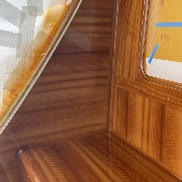 Kings Blue's faux teak bulkhead from Everett Nautical's recent trip to South Florida. This 77' Whiticar was the last one ever built.  All work completed at Micheal Rybovich & sons, Palm Beach Gardens, FL.
